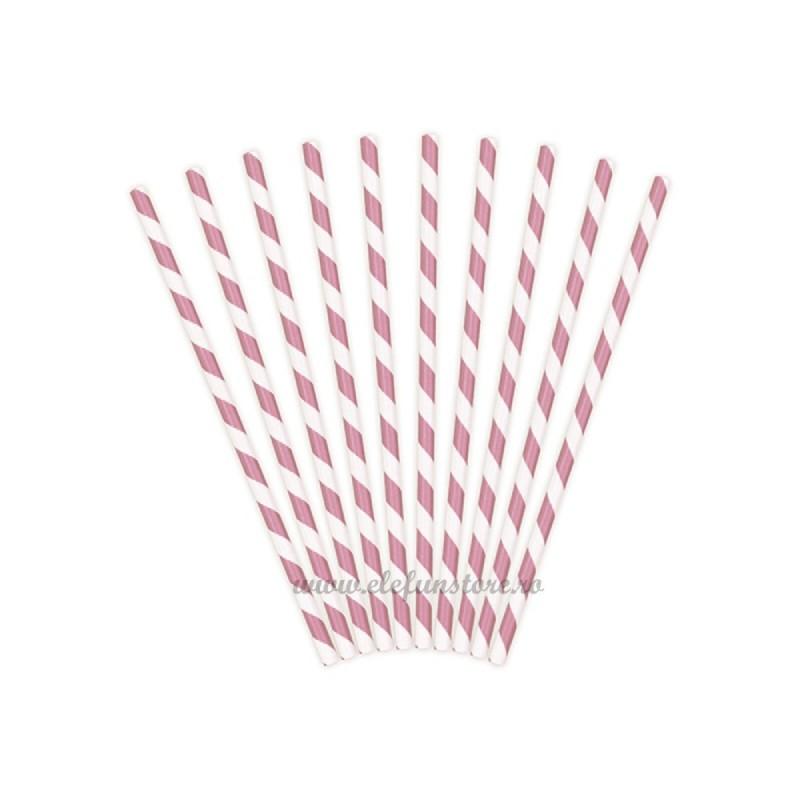 Set 12 Paie Roz cu dungi