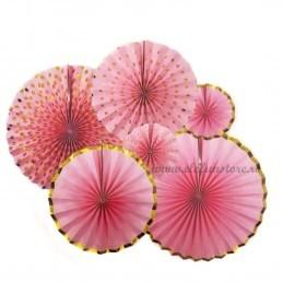 Set 6 rozete evantai aurii si roz