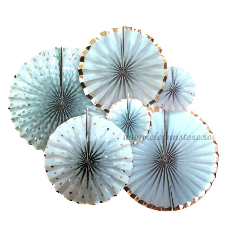 Set 6 rozete evantai argintii si bleu