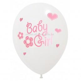 Set 6 Baloane Albe Baby Girl