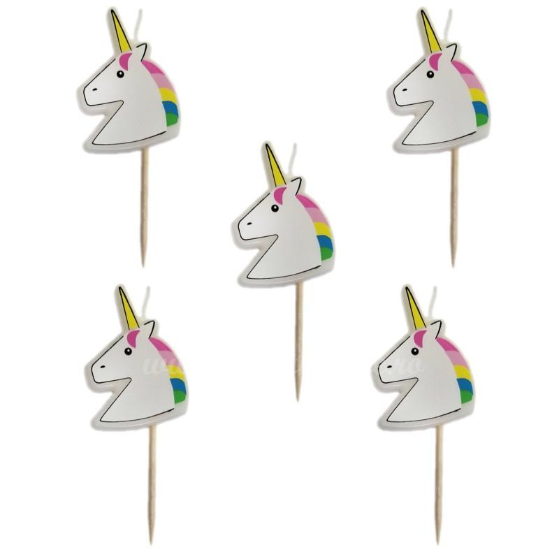 Set 5 lumanari Unicorni Curcubeu