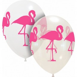 Set 10 baloane albe Flamingo