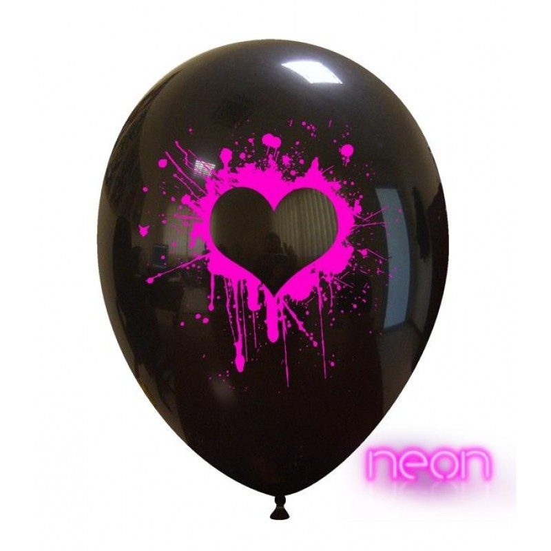 Set 10 baloane Inima Pictata Roz Neon