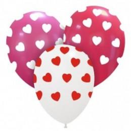 Set 10 baloane Multicolore cu Inimioare