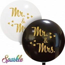 Balon Jumbo Negru MR&MRS cu sclipici auriu