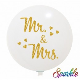 Balon Jumbo Alb MR&MRS cu sclipici auriu