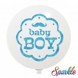 Balon Jumbo Baby Boy cu sclipici Bleu