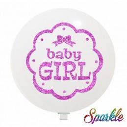 Balon Jumbo Baby Girl cu sclipici Roz