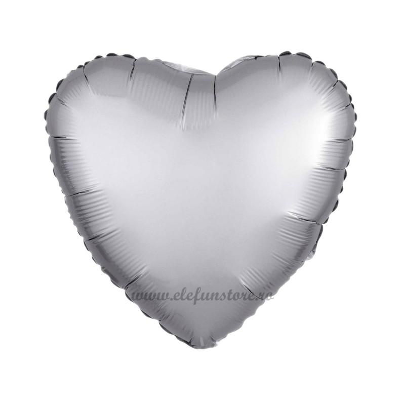 Balon Inima Argintiu Satin