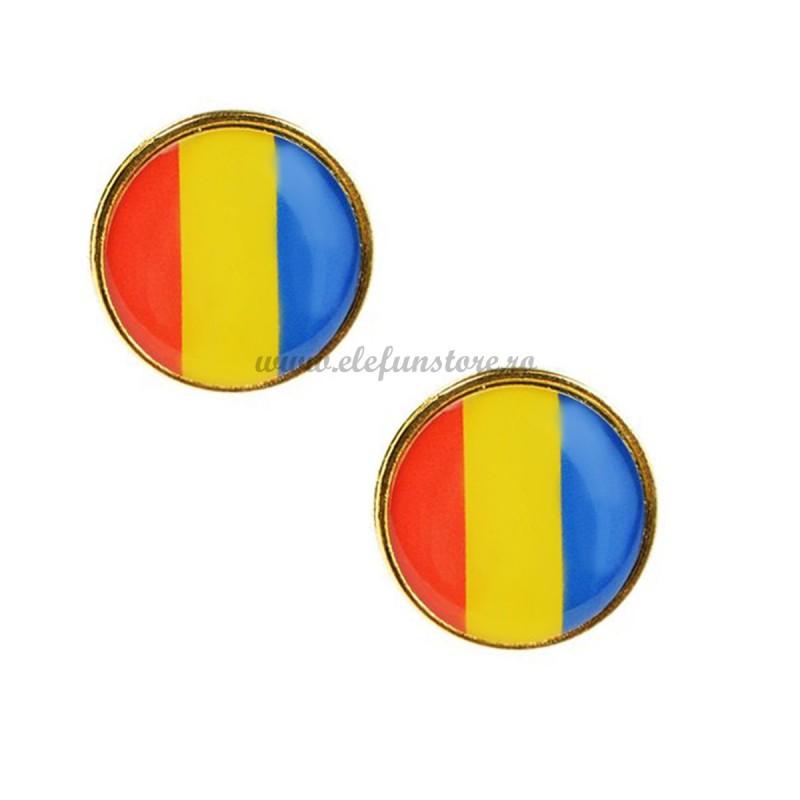 Set 2 Insigne Rotunde Steag Romania