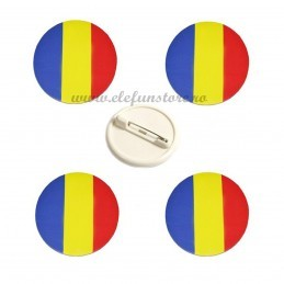 Set 4 Insigne Rotunde Steag Romania