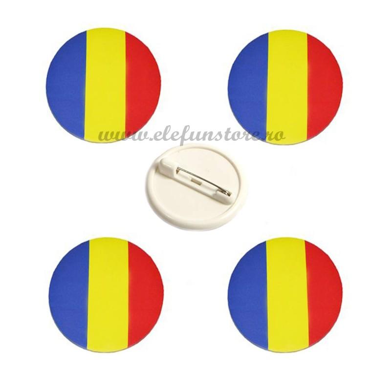 Set 4 Insigne Rotunde Steag Romania