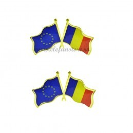 Set 2 Insigne Steag Romania + Europa