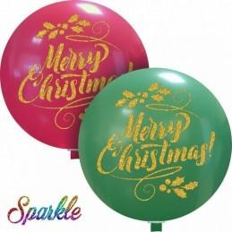 Balon Jumbo cu sclipici Merry Christmas Rosu