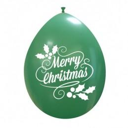 Set 10 baloane Verzi Merry Christmas 26 cm