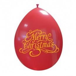 Set 10 baloane Rosii Merry Christmas 26 cm