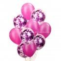Set 10 Baloane cu Confetti Magenta