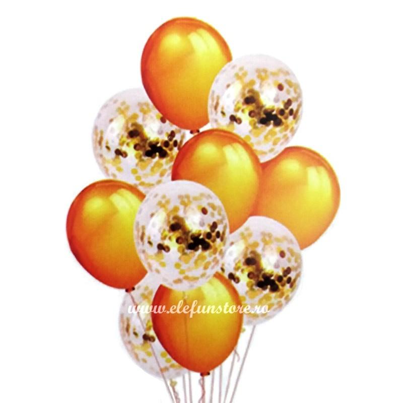 Set 10 Baloane cu Confetti Aurii