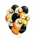 Set 15 Baloane cu Confetti Aurii si Negre