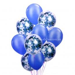 Set 10 Baloane cu Confetti Albastre