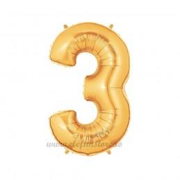 Balon Cifra 3 Aurie 100cm