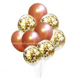 Set 10 Baloane Rose Gold si Confetti Aurii