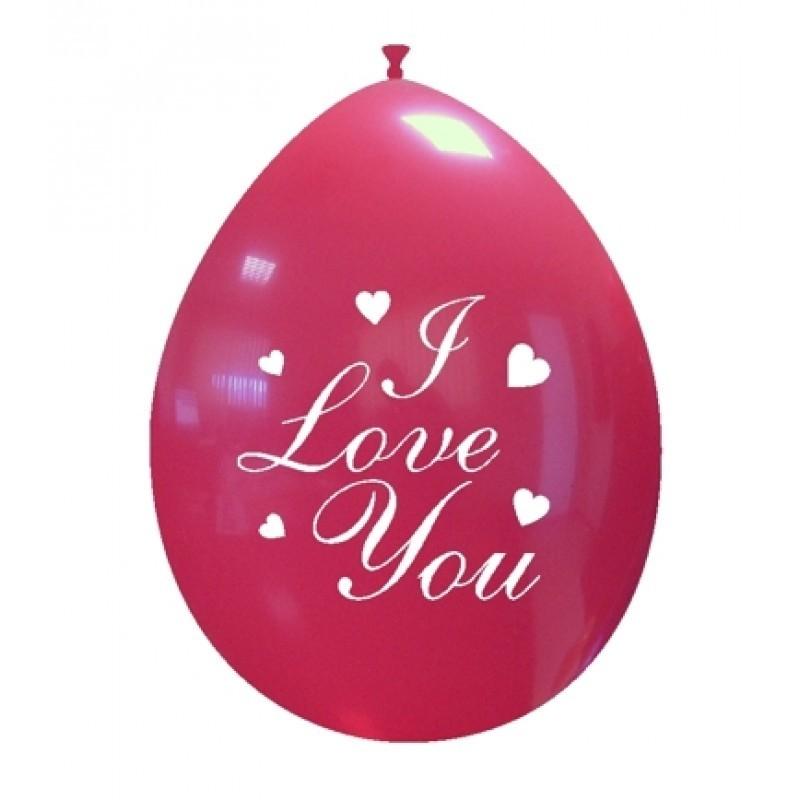 Set 10 baloane I Love You Clasic 26 cm