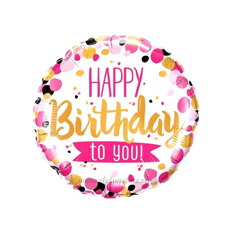 Balon Happy Birthday Auriu si Roz