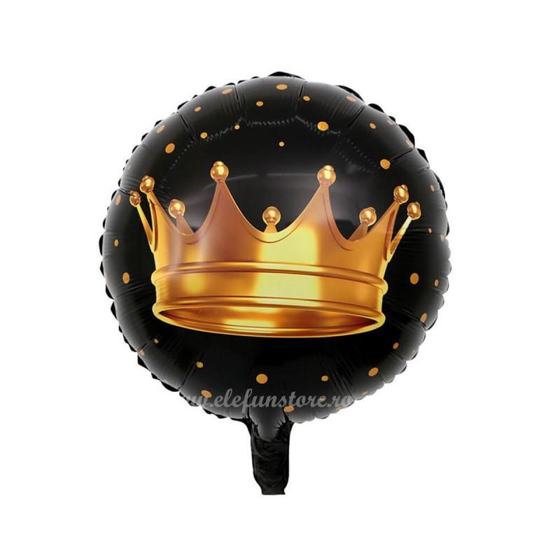 Balon Negru cu Coroana Aurie