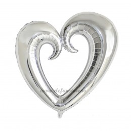Balon Inima Shape Argintiu Metalizat 80 cm