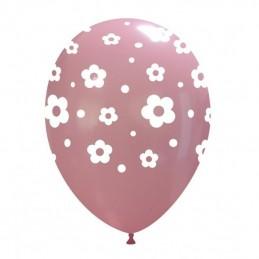 Set 10 baloane multicolore cu floricele