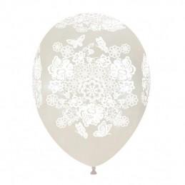 Set 10 baloane cu Dantela Alba