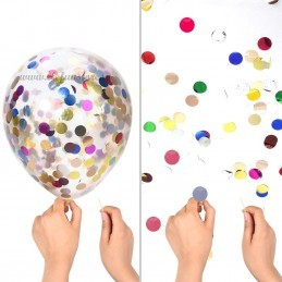 Set 5 Baloane cu Confetti Argintii
