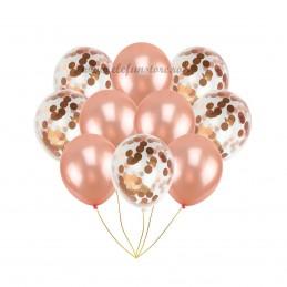 Set 10 Baloane cu Confetti Rose Gold