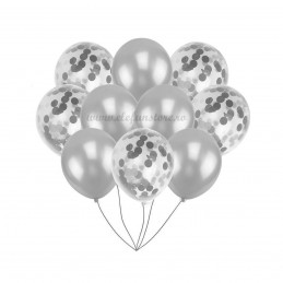 Set 10 Baloane cu Confetti Argintii