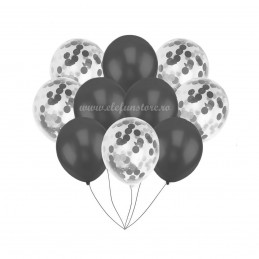 Set 10 Baloane Negre si Confetti Argintii