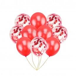 Set 10 Baloane cu Confetti Rosii