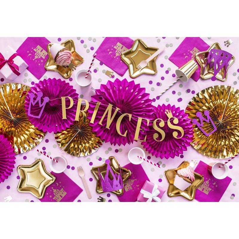 Banner PRINCESS Auriu cu Coronite 90cm