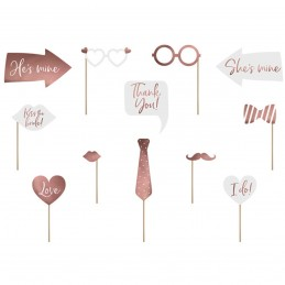 Set 12 Sabloane Foto Props Love Bride Rose Gold
