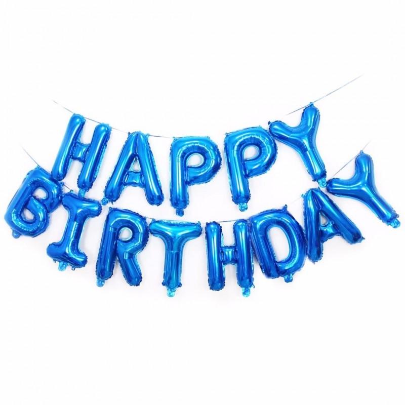 Set Litere Albastre Happy Birthday