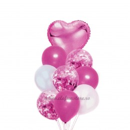 Set 9 Baloane Aniversare Roz