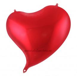 Balon Inima Curbata Rosu Metalizat