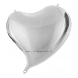 Balon Inima Curbata Argintiu Metalizat