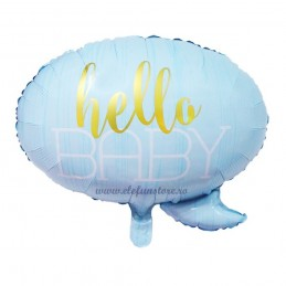 Balon Hello Baby Text Bubble Bleu