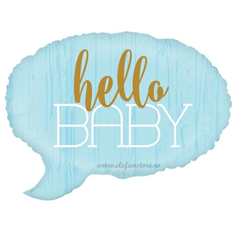Balon Hello Baby Text Bubble Bleu
