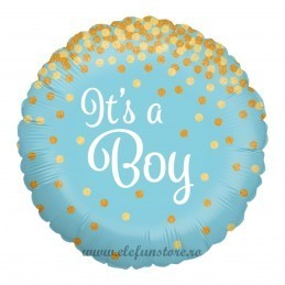 Balon It's a boy bleu cu confetti