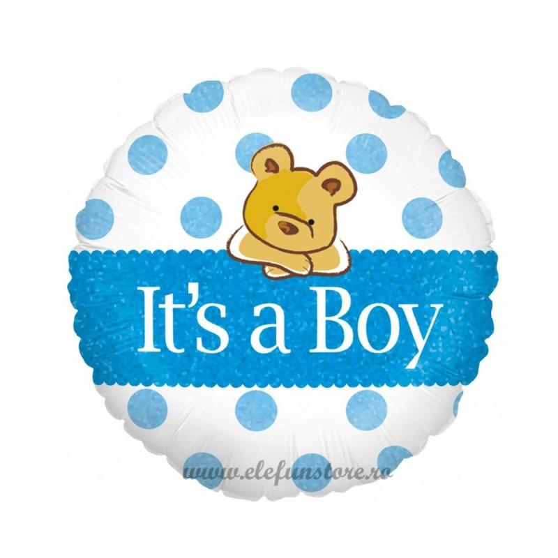 Balon rotund It's a boy cu bulinute bleu