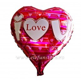 "Balon Inima Rosie ""I LOVE YOU"""