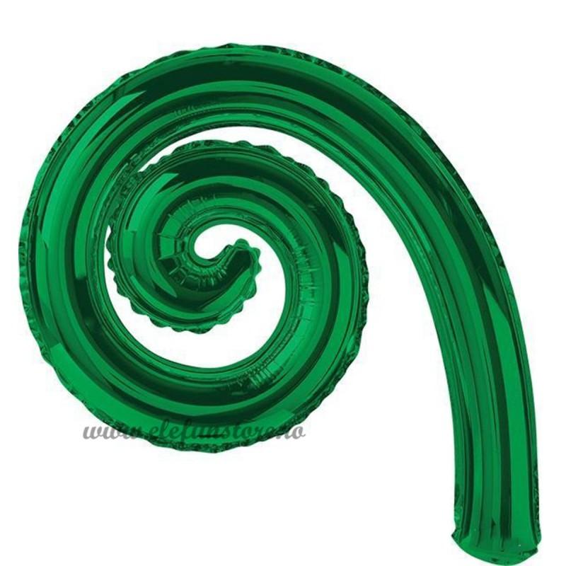 Balon Spirala Cârlionț 40 cm Verde Metalizat