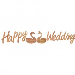 Banner Happy Wedding Rose Gold